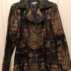 CAbi Asian Jacquard Chinoiserie Brocade Blazer